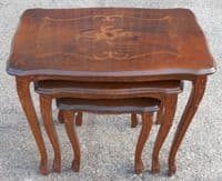 Victorian Style Inlaid Walnut Nest of Three Coffee Tables - SOLD
